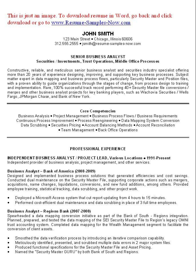 Business Analyst Resume Examples. Sample Resume For Business ...