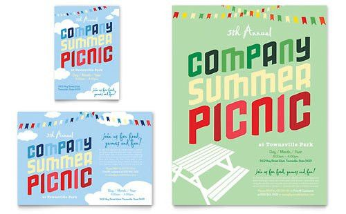 Company Summer Picnic Flyer Template Design