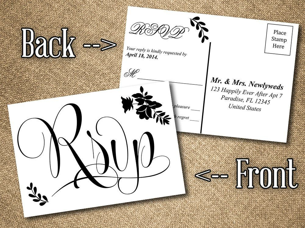 DIY Wedding RSVP Postcard Word Template Vintage Romance