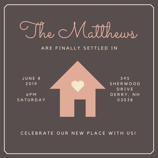 House with Heart Housewarming Invitation - Templates by Canva