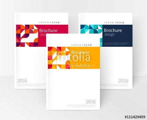 Vector set Red, Yellow, Blue Business brochure cover template ...