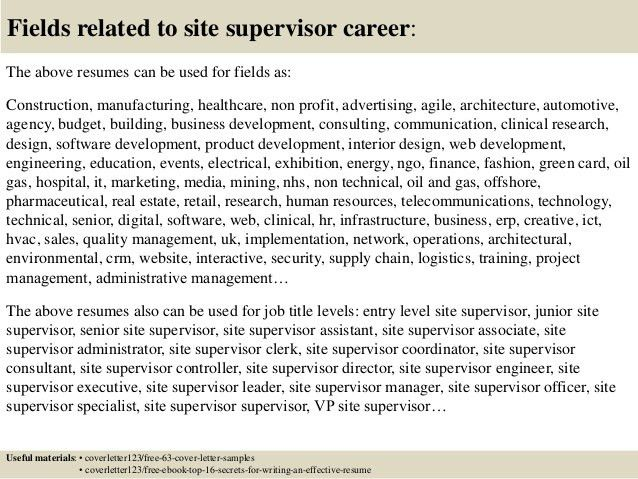 Top 5 site supervisor cover letter samples