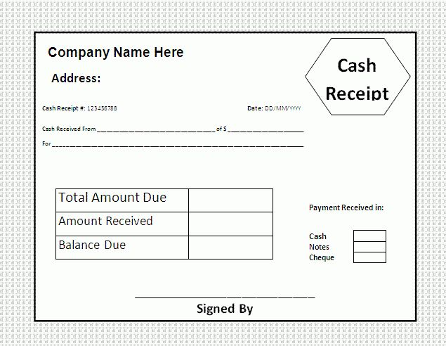 Cash Receipt Template | Free Printable Business and Legal Forms