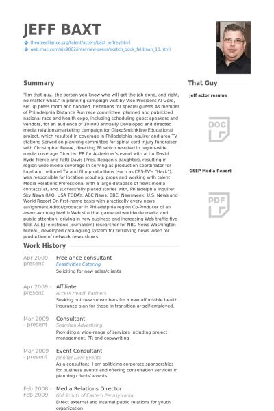 Freelance Consultant Resume samples - VisualCV resume samples database