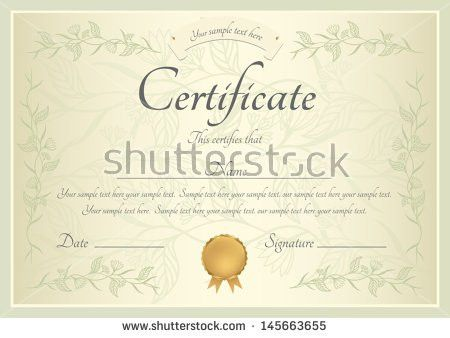 Silver Certificate Completion Template Vector Stock Vector ...