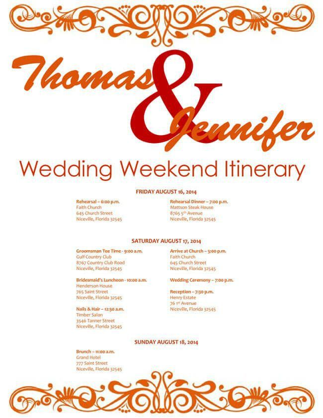 6 Free Wedding Itinerary Templates for Word and Excel