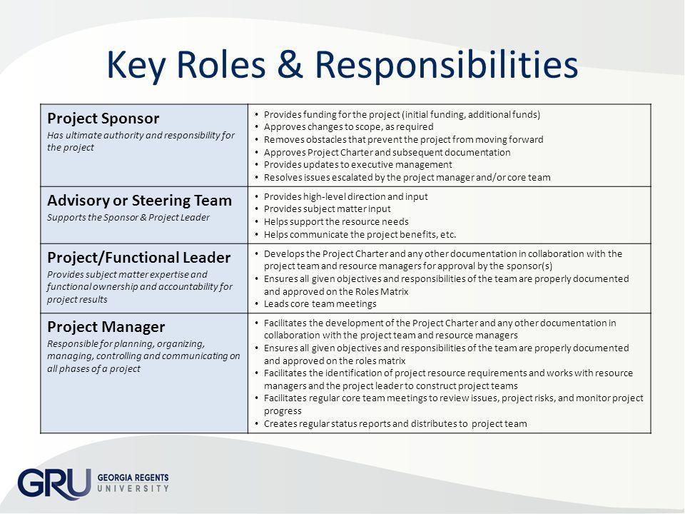 Project Organization Chart Roles & Responsibilities Matrix Add ...