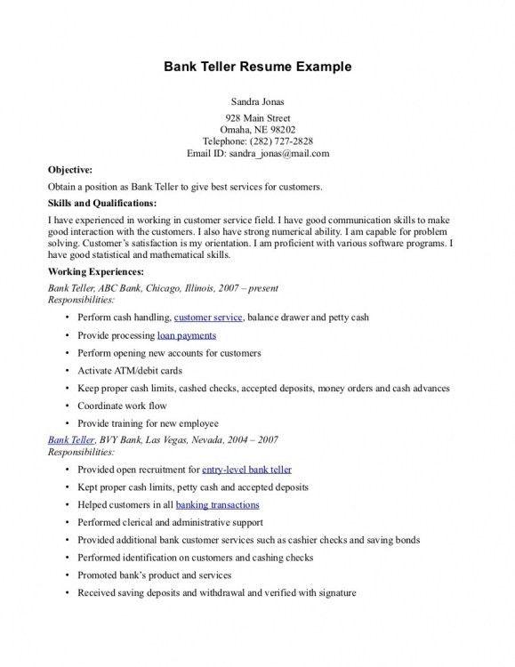 Bank Teller Resume Sample 20 For - uxhandy.com