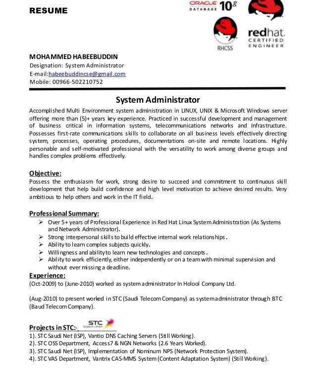 Download Unix System Administration Sample Resume ...