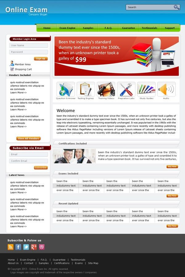Online Exam/Training: Free PSD Website Template Preview | Psd ...