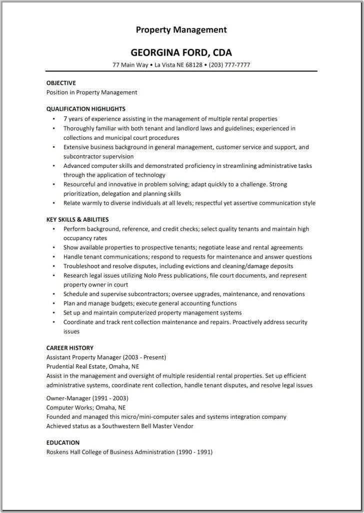 cover letter apartment manager position