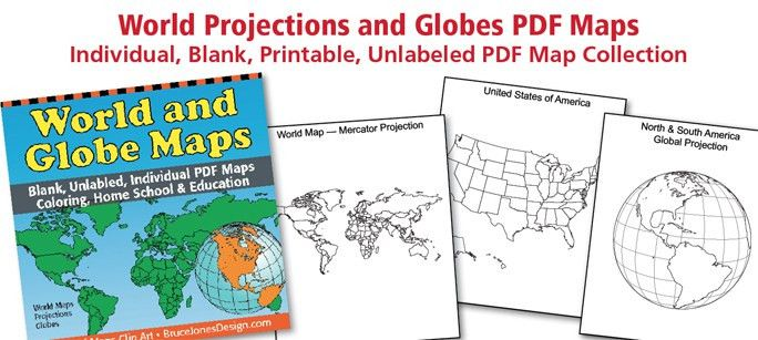 World and Globe PDF Maps, Individual, Printable, Blank, Unlabeled ...