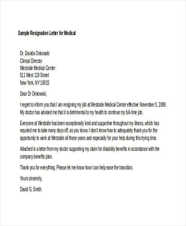 Sample Medical Resignation Letters - 6+ Free Sample, Example ...
