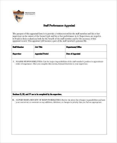 Sample Staff Performance Appraisal Forms - 8+ Free Documents in ...