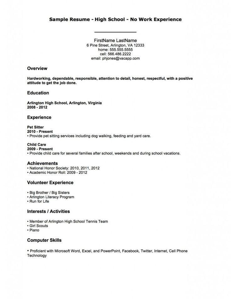 High School Resume. Free Resume Templates For High School Students ...