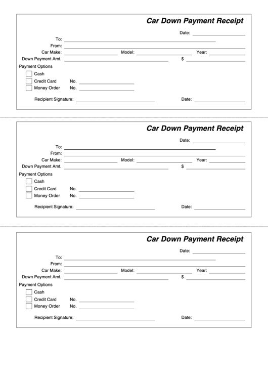 Car Down Payment Receipt printable pdf download