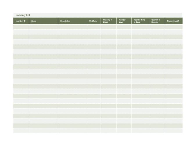 Inventory list - Office Templates