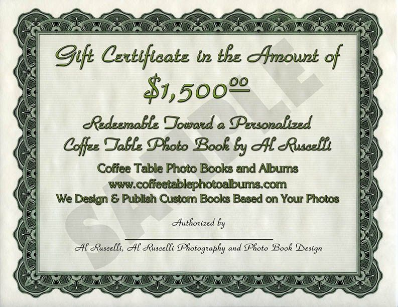 Gift Certificates for Coffee Table Photo Books / Albums