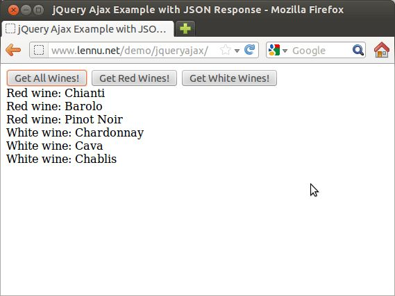 jQuery Ajax Example with JSON Response