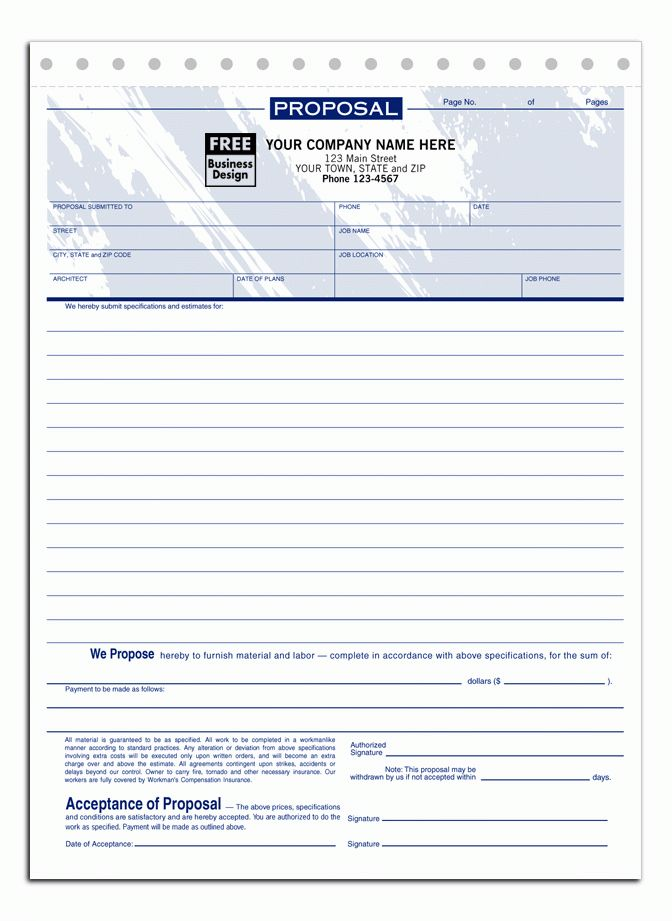 Free printable proposal forms - Business Proposal Templated ...