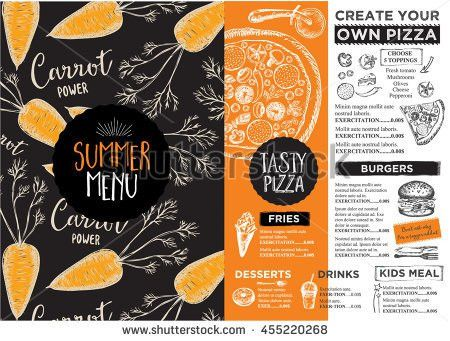 Juice Menu Placemat Drink Restaurant Brochure Stock Vector ...