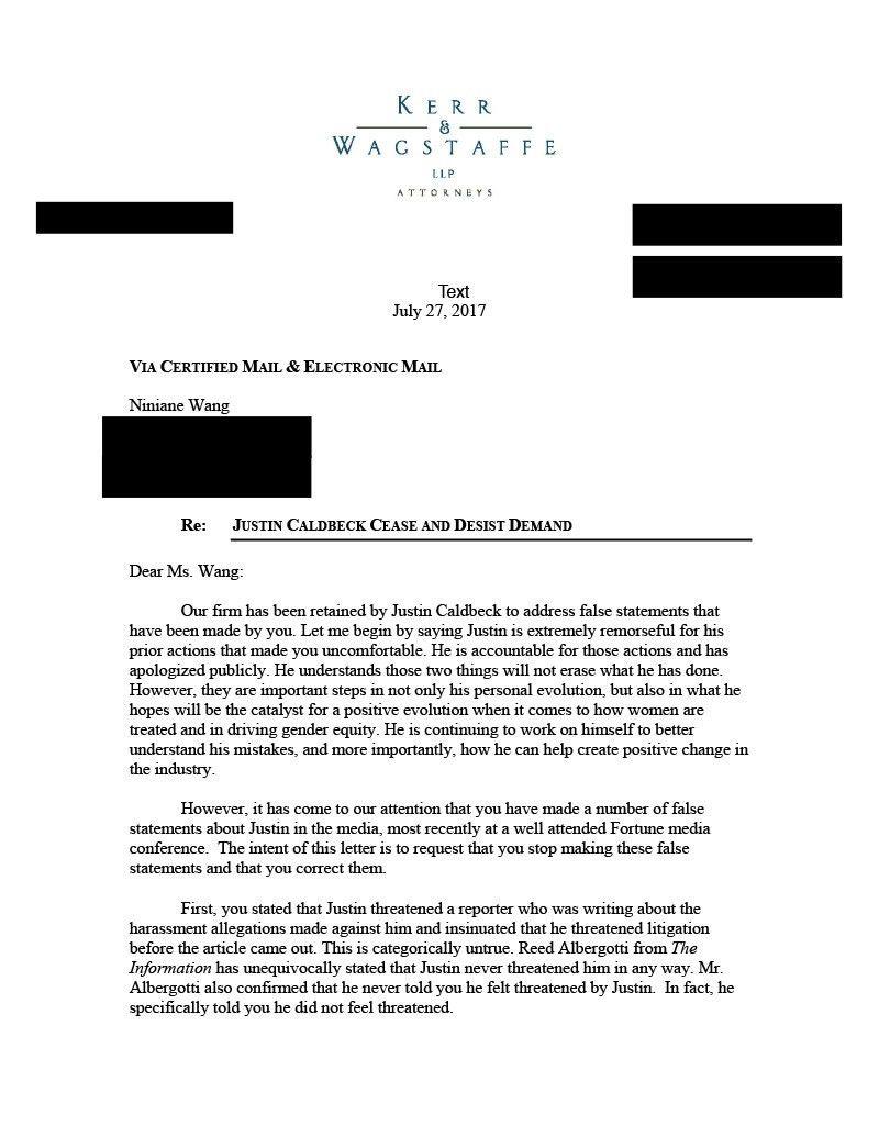 Disgraced Venture Capitalist Justin Caldbeck Threatened Legal ...
