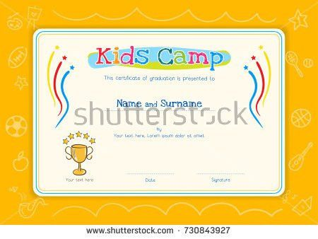 Kids Summer Camp Certificate Document Template Stock Vector ...