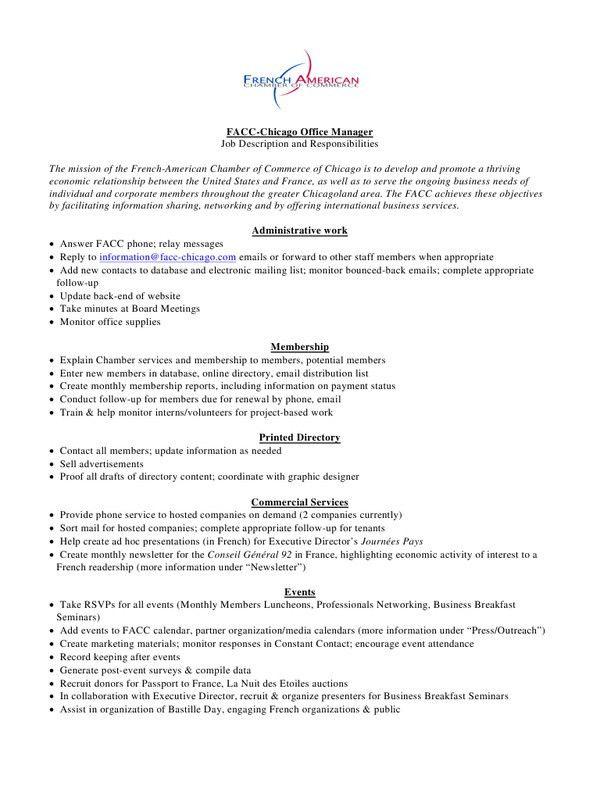 Job Description Office Manager FACC Chicago (Job Description ...