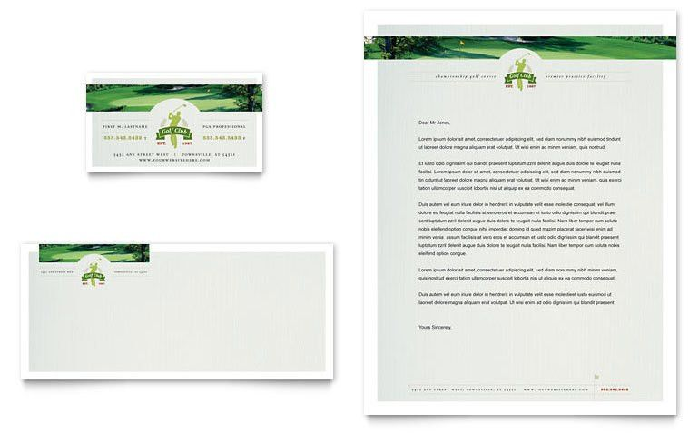 Golf Course & Instruction Business Card & Letterhead Template ...