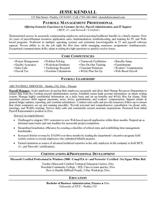 Payroll Manager Resume | Best Resume For You