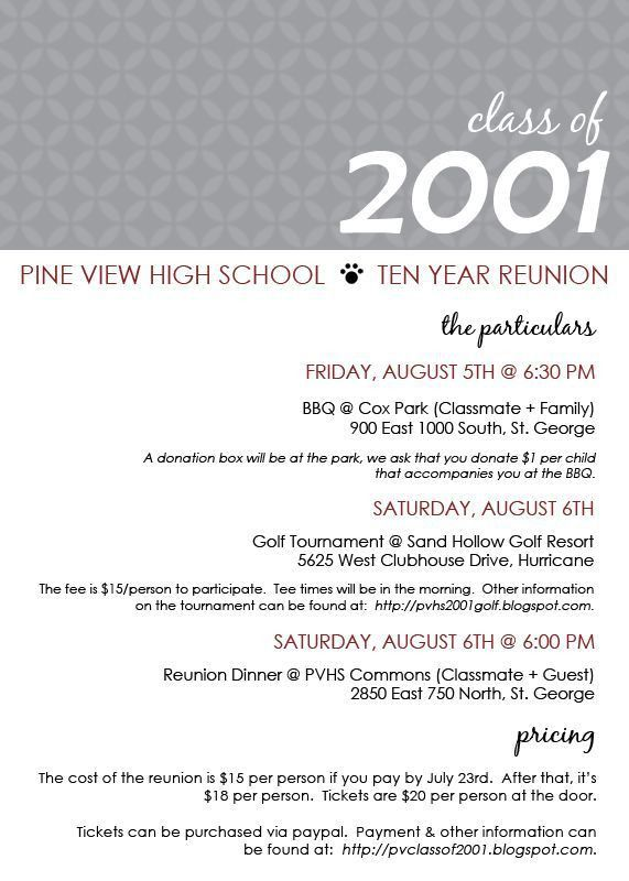 17 best High School Reunion Invitations images on Pinterest ...