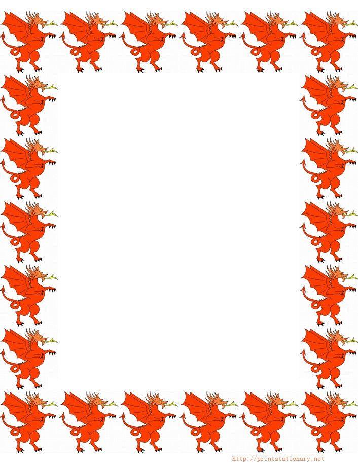 free dragon and dragon border stationery paper, free printable ...