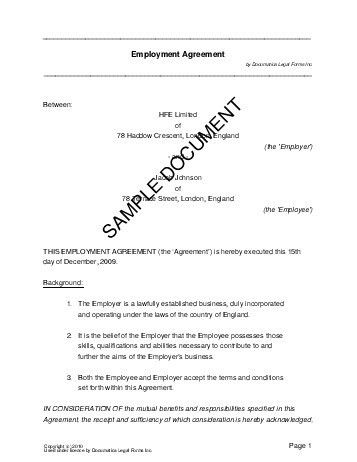 Employment Agreement (United Kingdom) - Legal Templates ...