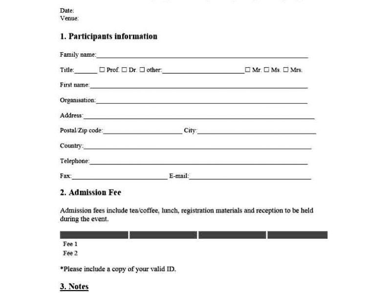 Registration Form Template Word | TemplateZet