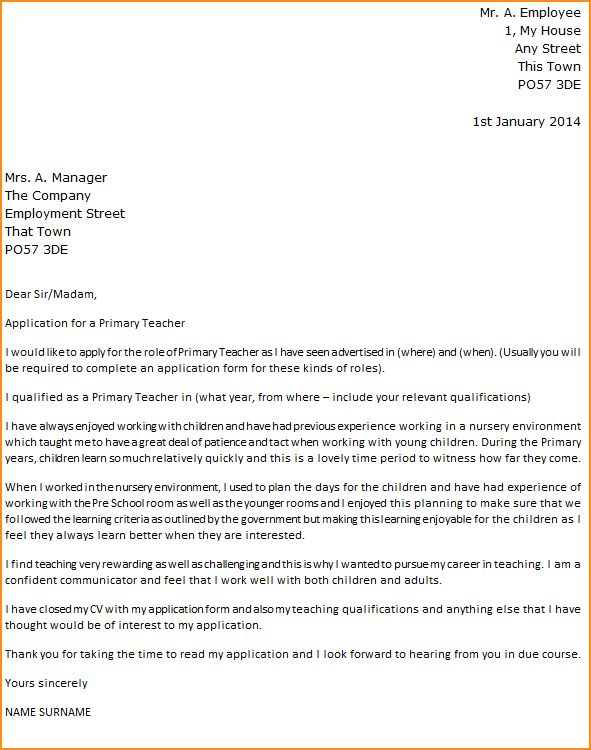 teacher application letter teacher job application and cover ...