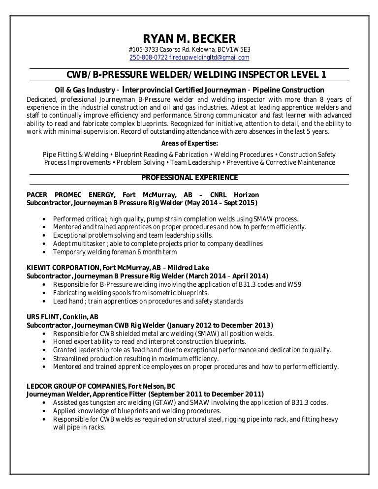 Ryan Becker - Welding Resume