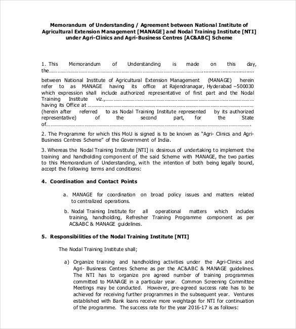 Memorandum of understanding Templates – 30+ Free Sample, Example ...
