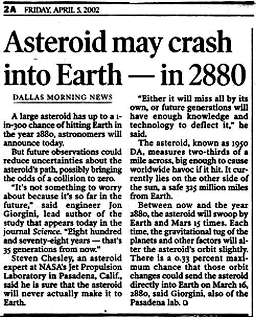 Asteroids - Past Impacts/Near Misses/Future Approaches
