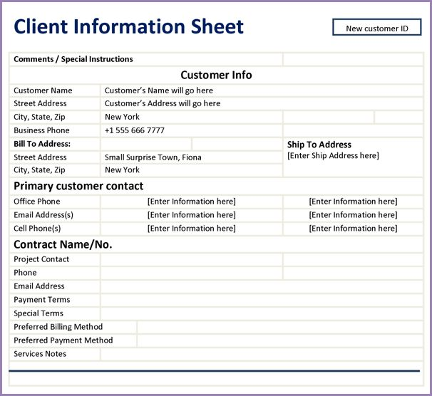 CLIENT INFORMATION SHEET | Samplenotary.cam