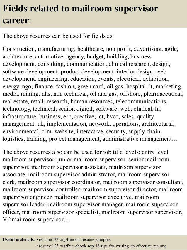 mail room supervisor resume mailroom supervisor resume example