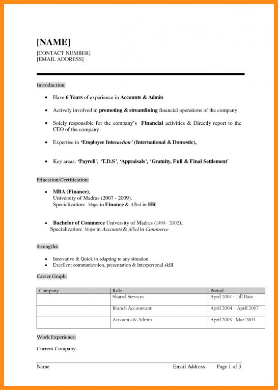 fresher resume formats 2016 latest resume formats. resume format ...