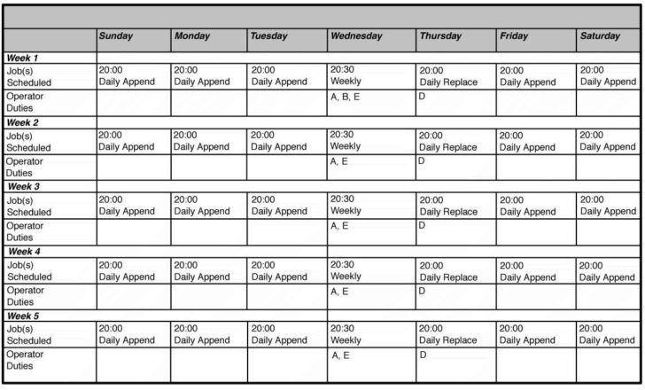 scheduling spreadsheet template