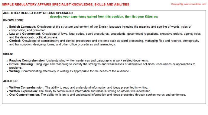 Regulatory Affairs Specialist Knowledge & Skills