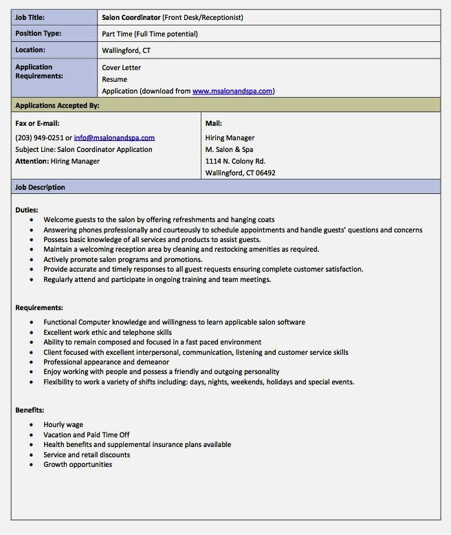 Perfect Receptionist Job Description Resume – Resume Template For Free