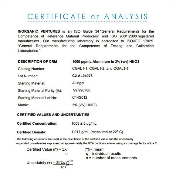 Certificate of Analysis Template - 10+ Free Download Documents in ...