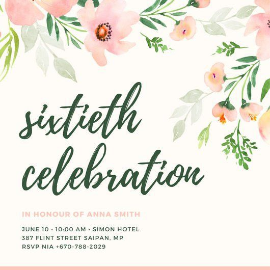 60th Birthday Invitation Templates - Canva