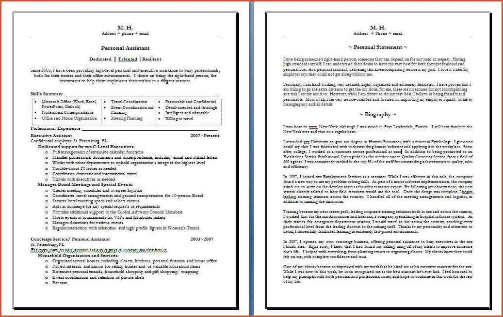 RESUME BIO EXAMPLE.Sample Personal Assistant Resume With Matching ...
