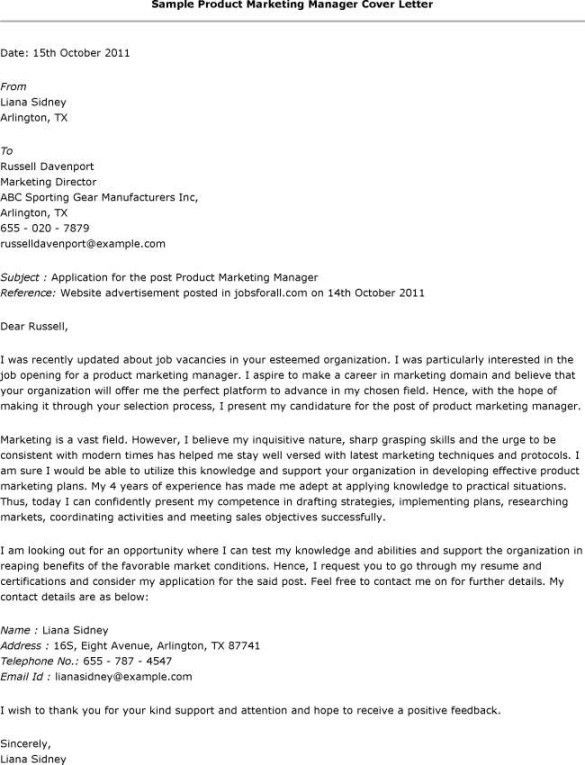 Marketing Job Cover Letter Example in Job Application Cover Letter ...