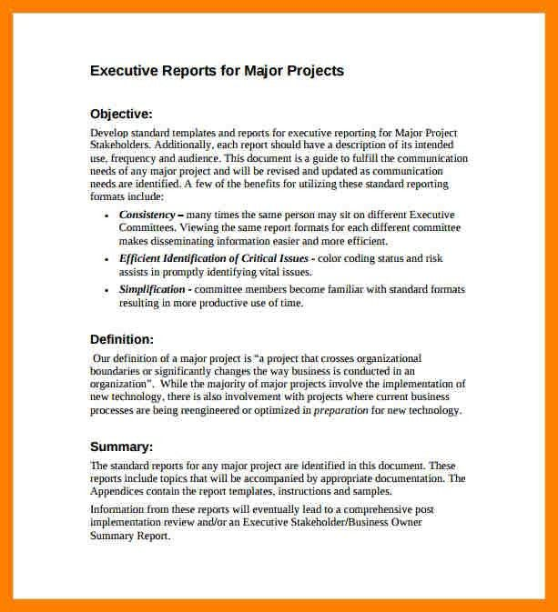 Executive Summary Report Template [Template.billybullock.us ]