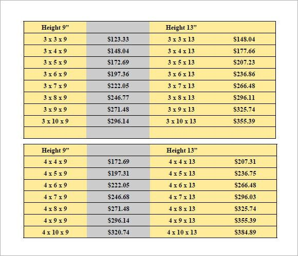 Sample Price List - 8+ Examples, Format